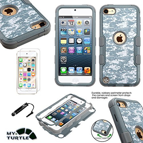 MyTurtle Shockproof Hybrid 3-Layer Hard Silicone Shell Cover with Stylus Pen and Screen Protector for iPod Touch 5th 6th Generation, Universal Camouflage (Touch Case Camouflage Ipod)