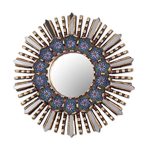 NOVICA Blue Floral Reverse Painted Glass Bronze Leaf Sunburst Star Wall Mirror, Cuzco Blue