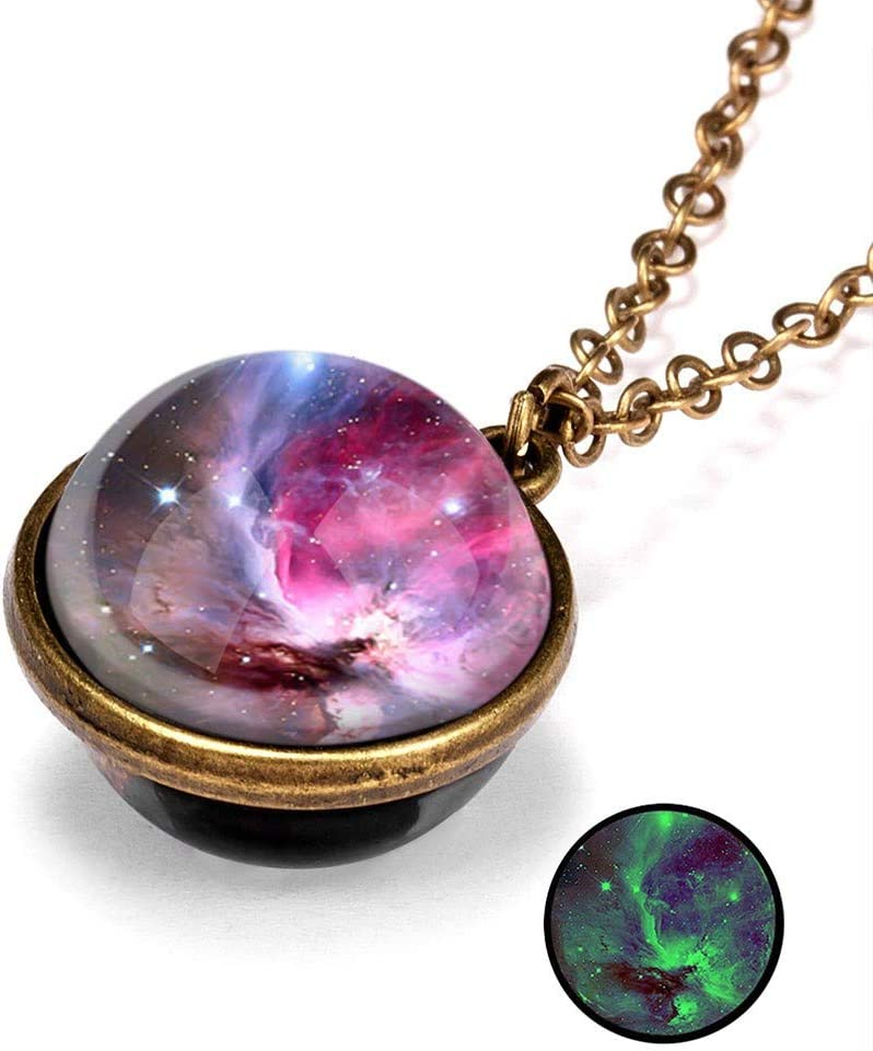 Unisex Galaxy Pendant Necklace,WYTong Fashion Glass Pendant Unique Special Birthday Gift A