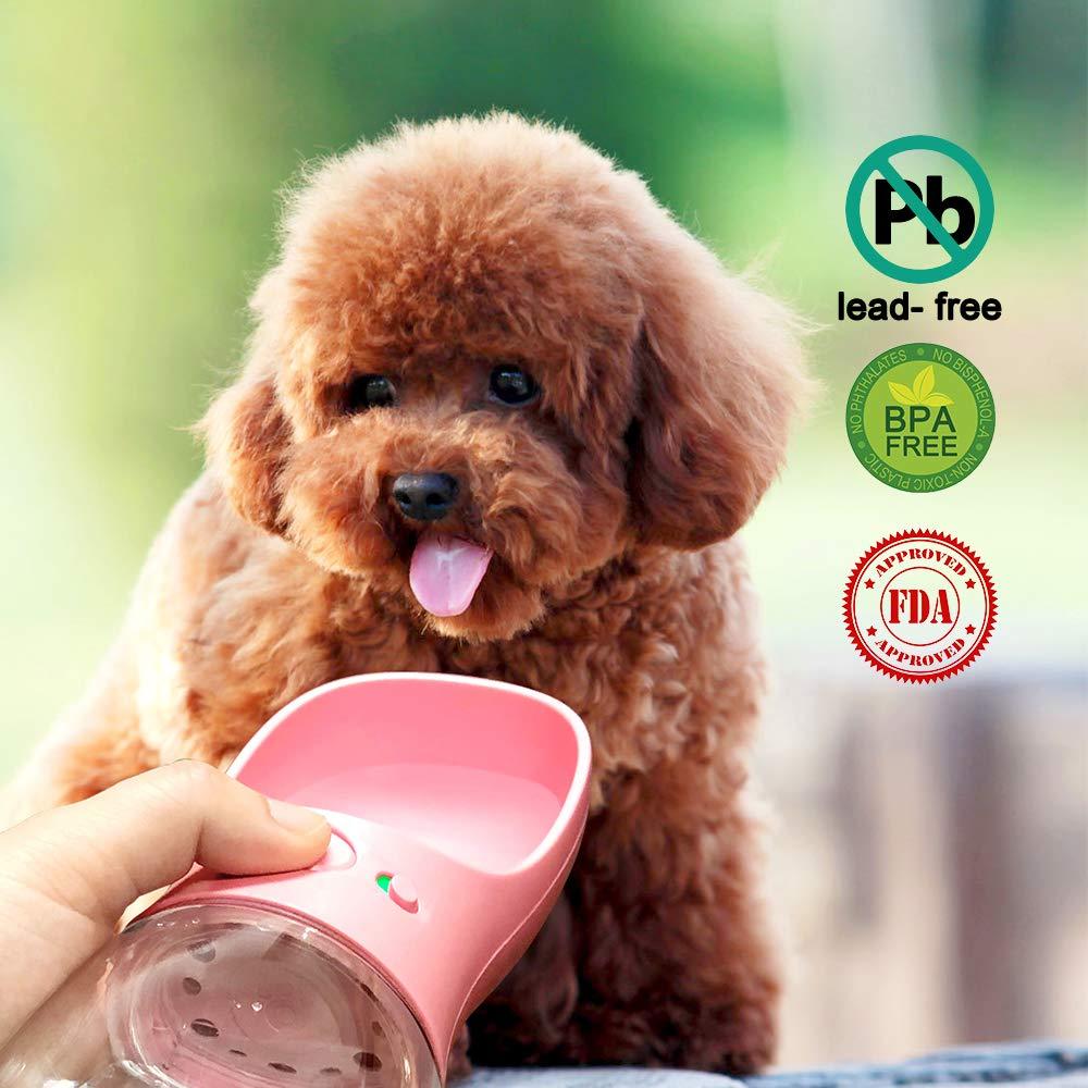 Dispenser Pet Portable Dogs Cats 12OZ Travel Drink Bottle Bowls BPA Freee,Antibacterial,Leak Proof,Food Grade QQPETS Dog Water Bottle for Walking