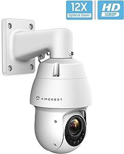 Amcrest Outdoor PTZ POE Camera, Pan/Tilt/ 12x Optical Zoom 1080P POE+