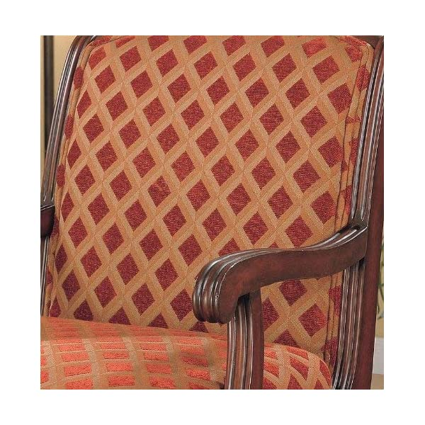 Accent Chair with Wood Armrests Red Brown