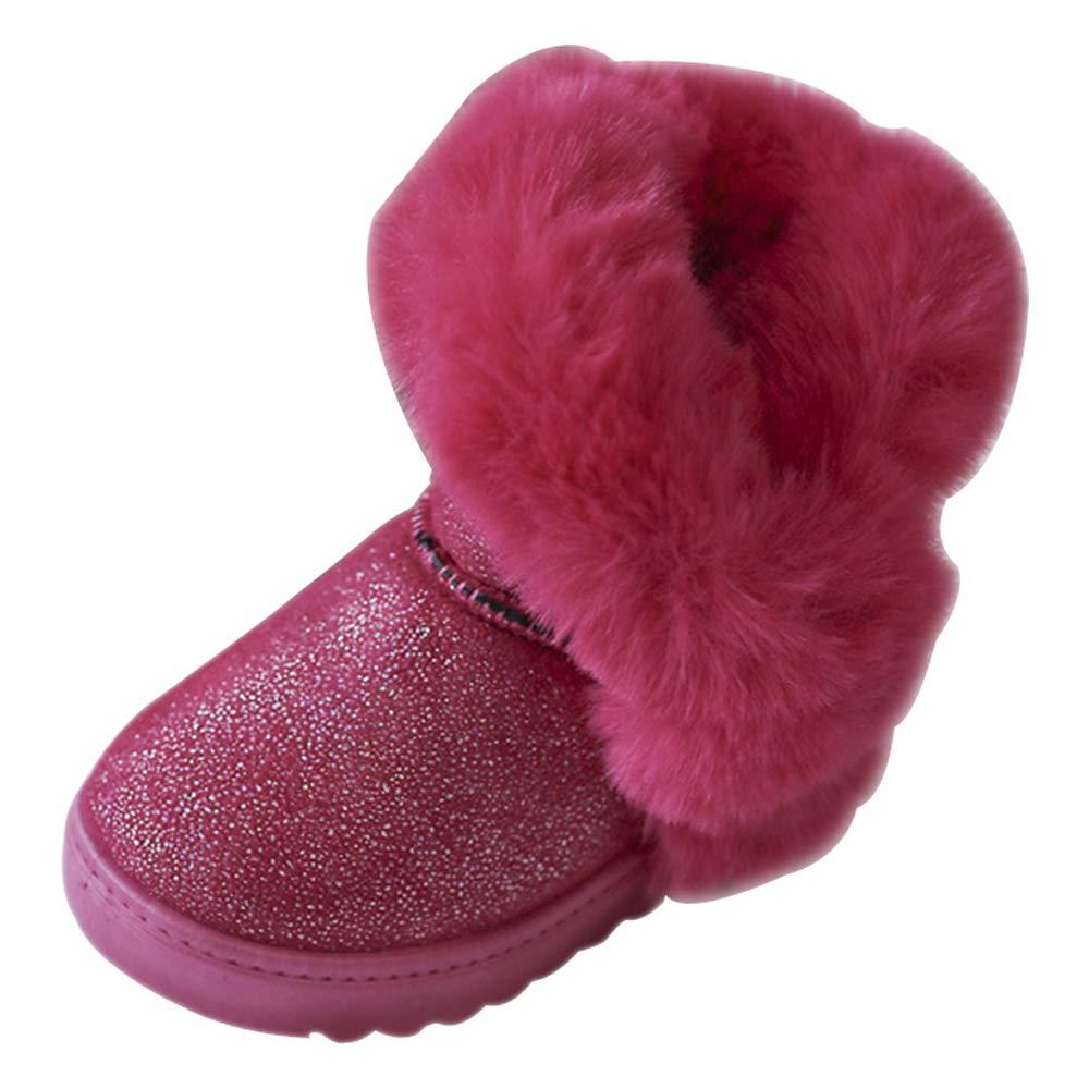 KINDOYO Girls Winter Boots Short Snow Flock Warm Bootie Slip-On Ankle Boot