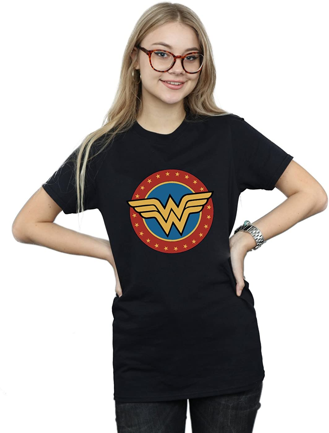 DC Comics Mujer Wonder Woman Circle Logo Camiseta del Novio Fit
