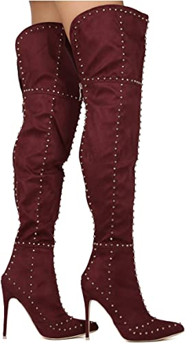 Women/'s Faux Suede Over Knee High Heels Boots Thigh High Pointy Toe Thick Zsell