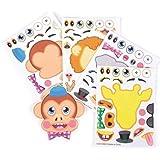 12 Make-a-Zoo Jungle Animal Sticker Sheets New