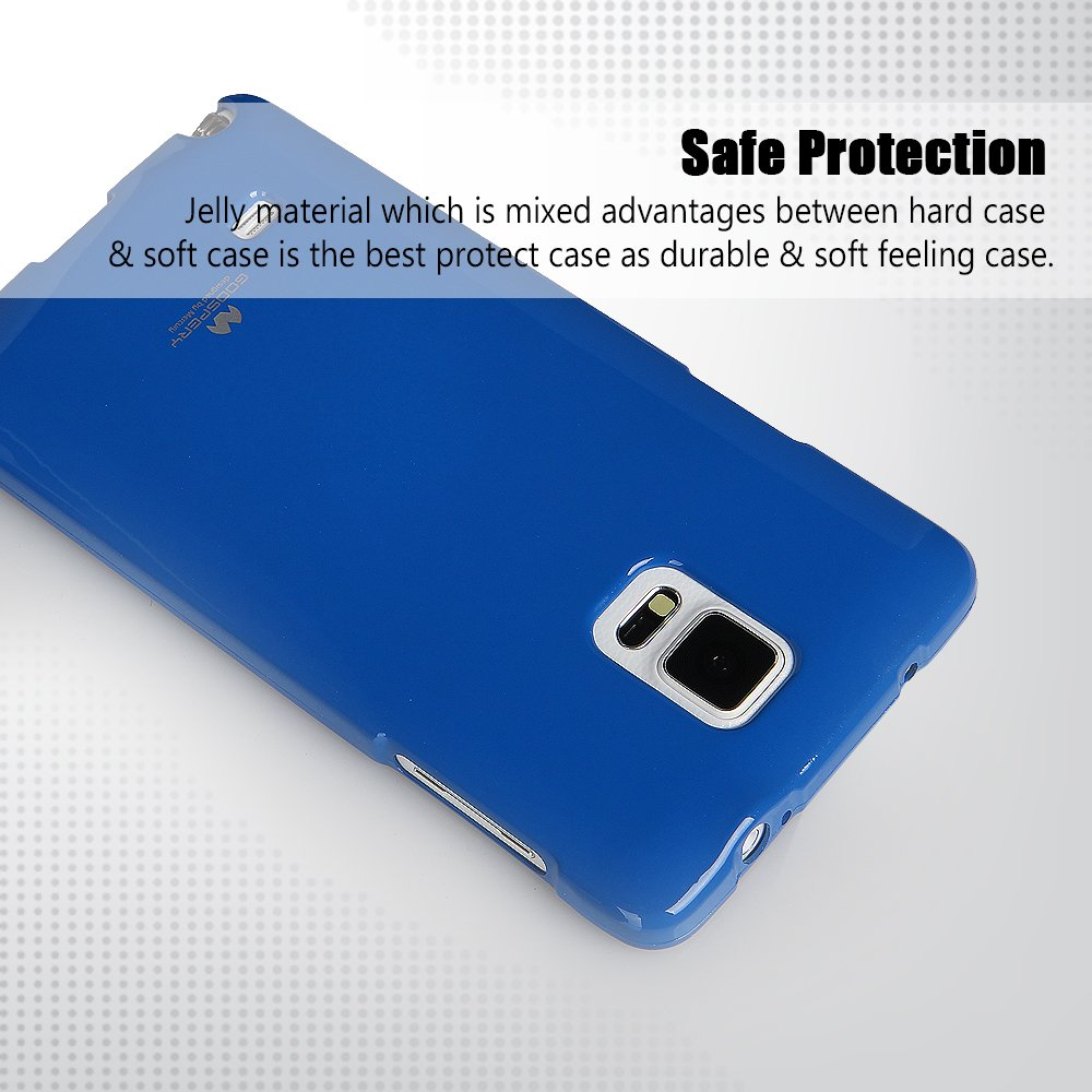 Galaxy Note 4 Case Thin Slim Goospery Flexible Samsung S7 Edge Soft Feeling Jelly Midnight Blue Pearl Rubber Tpu Lightweight Bumper Cover Impact Resistant For
