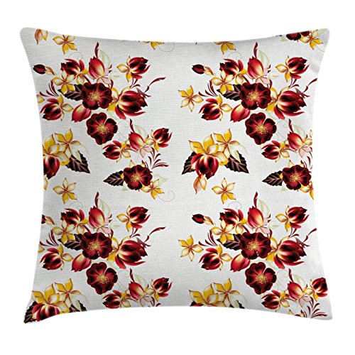 Flowers Throw Pillow Cushion Cover by Ambesonne, Floral Decor Seamless Wallpaper Pattern with Flowers Decorative Design Print, Decorative Square Accent Pillow Case, 18 X18 Inches, Yellow Burgundy (Benches Inexpensive)