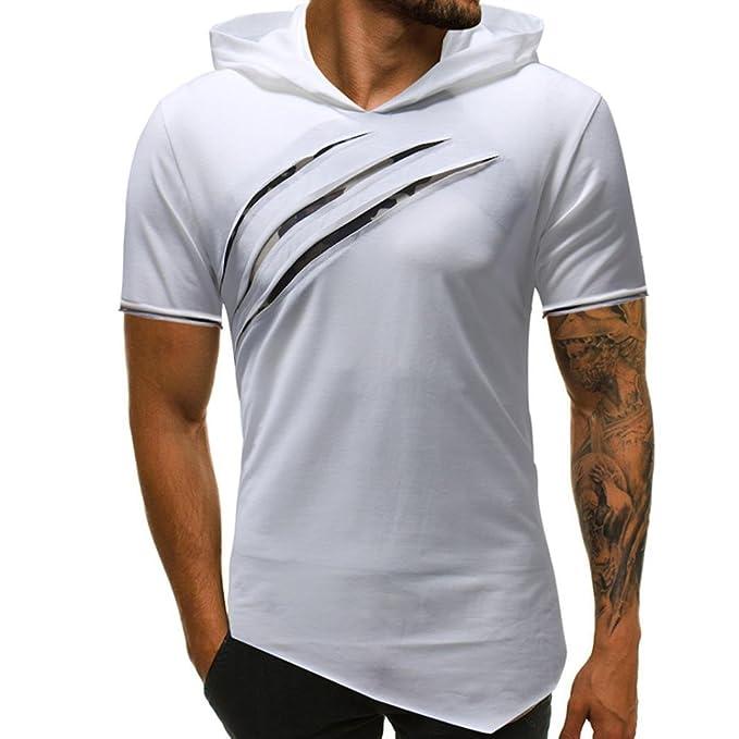Personalidad de la Moda Hombres Color Puro con Capucha Sport Short Sleeve Shirt Top Blouse