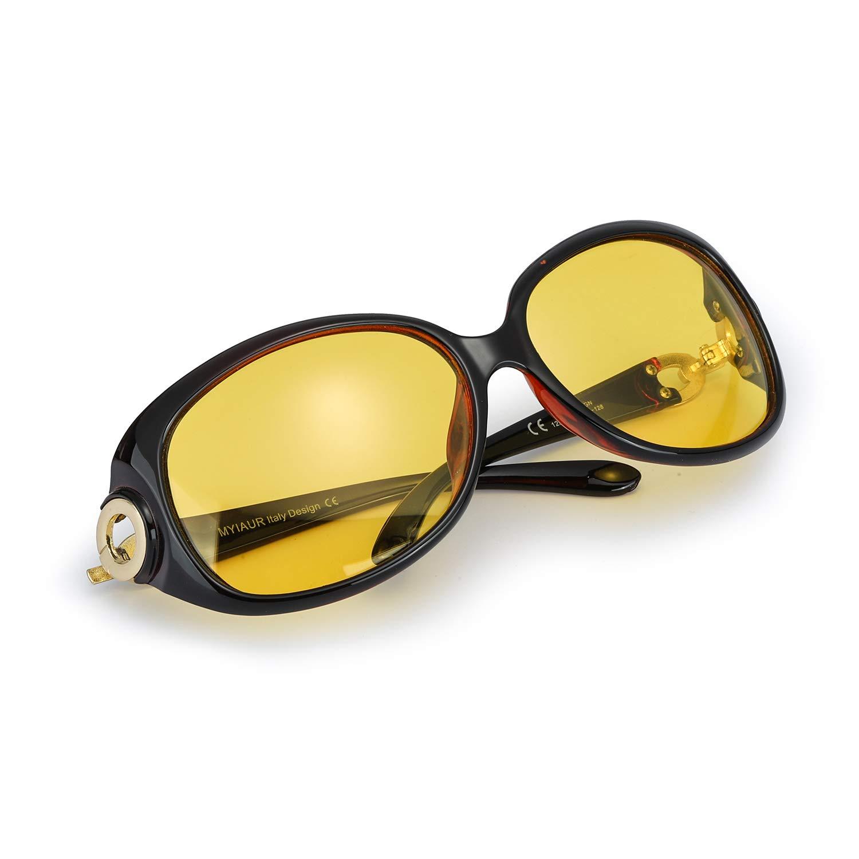 Myiaur Women Stylish Night Glasses for Driving, Yellow HD Nighttime Sunglasses - UV 400 Protection