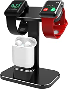 XUNMEJ 2 in 1 iWatch Stand AirPods Holder, Dual Head Mode Aluminum Replacement Charging Dock Station for iWatch Series 5 4 3 2 1 38mm 40mm 42mm 44mm All AirPods Original Cables Required (Black)
