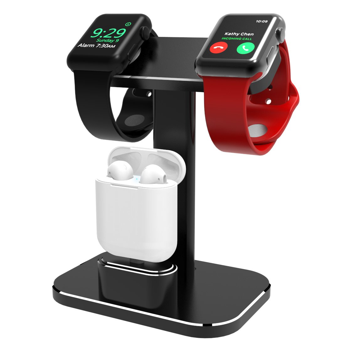 DHOUEA Compatible 2 in 1 Watch Stand Replacement for Apple Watch iWatch Charging Dock Station Stand Holder Aluminum Airpods Stand for Apple Watch Series 1/2 (38mm or 42mm) Airpods (Black)