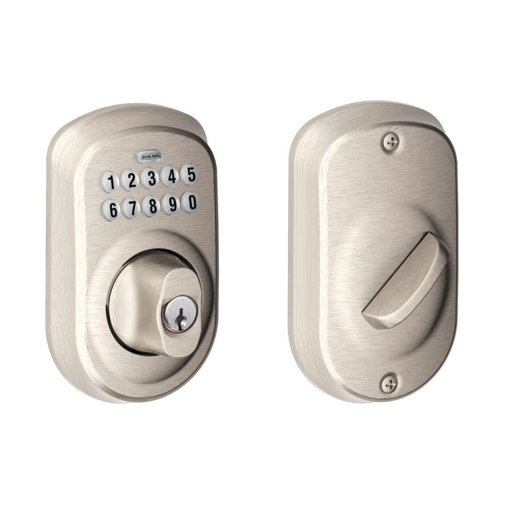 Schlage BE365 PLY 619 Plymouth Keypad Deadbolt, Satin Nickel by Schlage Lock Company