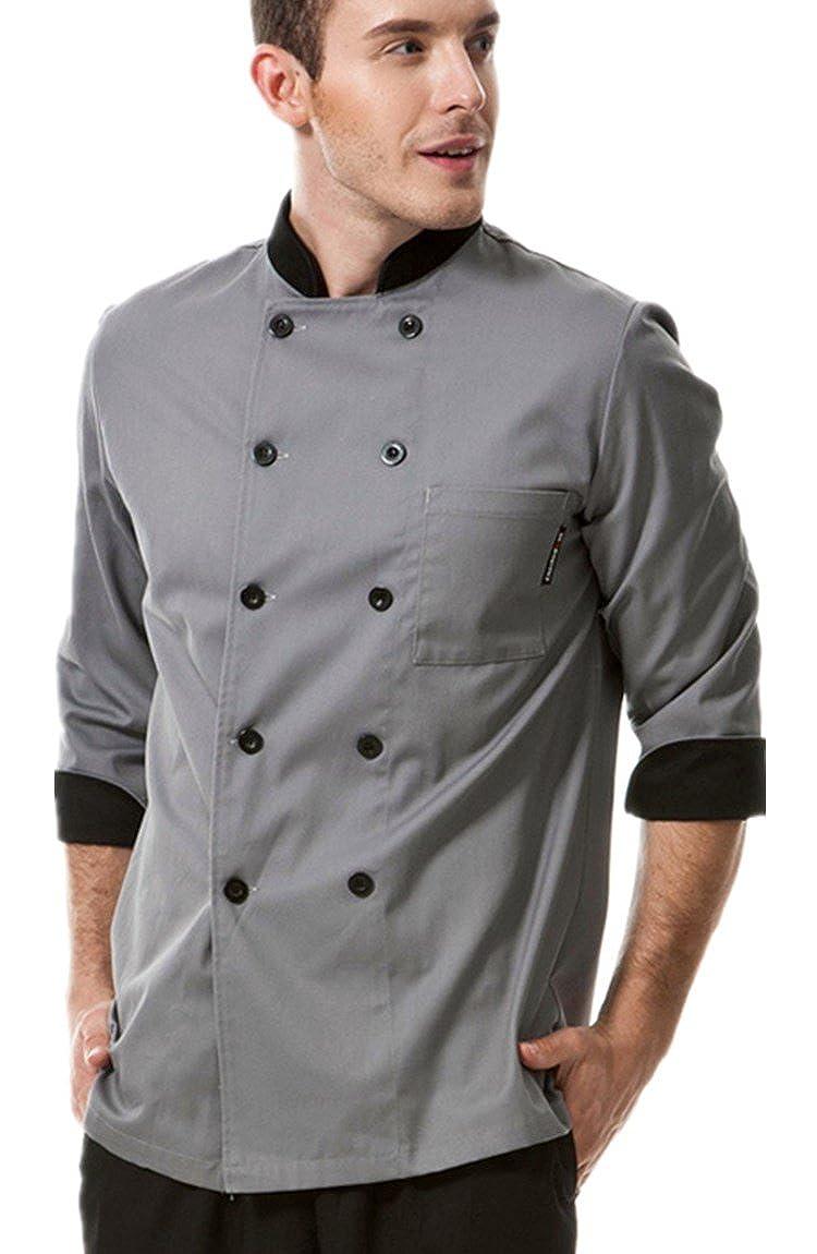 XinAndy Men's Chef Coat Unisex Chef Jacket