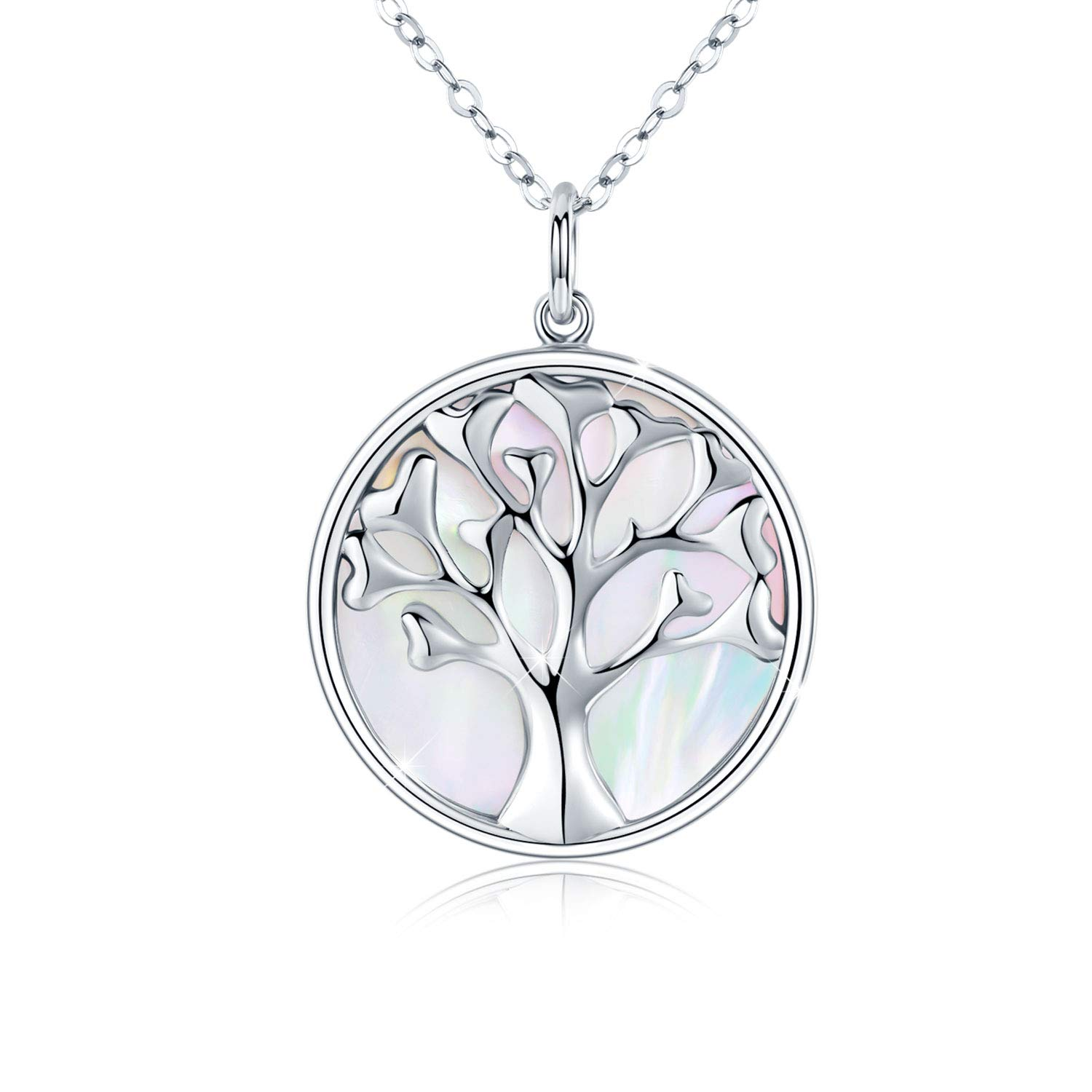 Mother of Pearl Necklace Women 925 Sterling Silver Tree of Life Pendant Necklace Girls Jewellery Gifts for Teens Sister,Wife,Mum