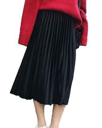 site réputé 81bcc 4a654 Guiran Femme Jupe Taille Haute Vintage Mi Longue Velours Evasée Plissée  Midi Jupe