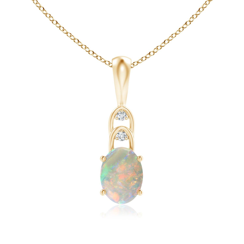 Angara 6mm Round Opal Pendant in Rose Gold - October Birthstone Pendant CcQktZ9