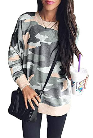 07631bdf737da BTFBM Women Camouflage Print Long Sleeve Crew Neck Loose Fit Casual  Sweatshirt Pullover Tops Shirts (