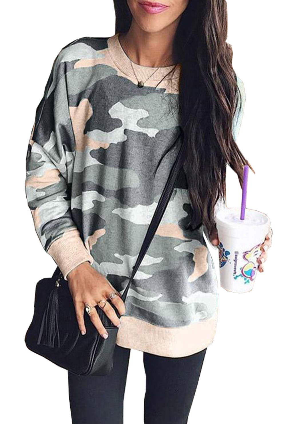 BTFBM Women Camouflage Print Long Sleeve Crew Neck Loose Fit Casual Sweatshirt Pullover Tops Shirts (Army Green, Large)