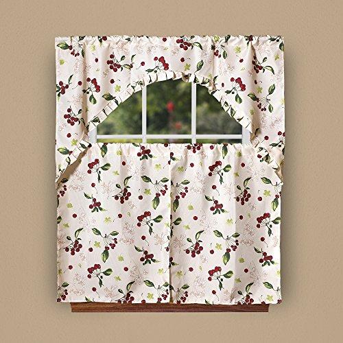 Violet Linen European Kitchen Cherries Vintage Print 3 Piece Curtain Set, Beige