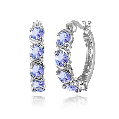 Sterling Silver Tanzanite S Design Round Hoop Earrings