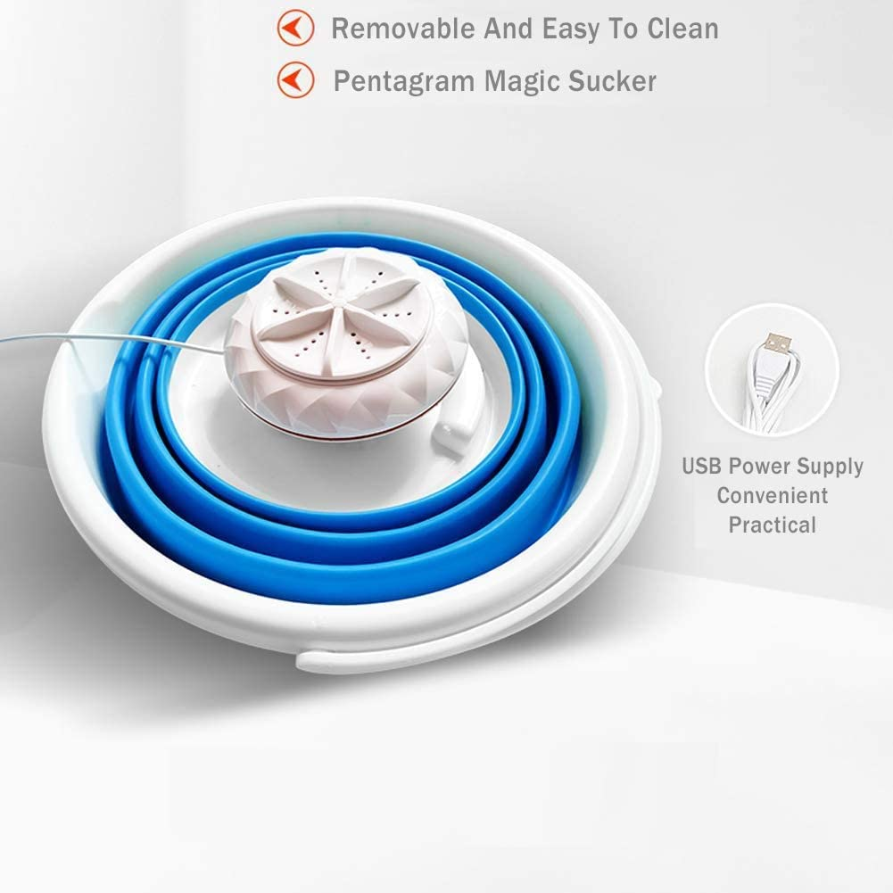 Portable Washing Machine Foldable Ultrasonic Turbine Washer with USB Cable Mini Washing Machine for Camping Dorms Business Trip College Rooms