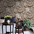 QIHANG Antique Stereoscopic Waterproof Stone Marbled Rock Wallpaper Light Beige Color 0.53m10m=5.3SQM