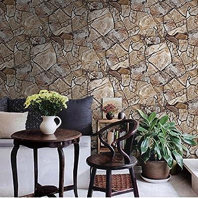 QIHANG Antique Stereoscopic Waterproof Stone Marbled Rock Wallpaper Light Beige Color 0.53m10m=5.3SQM