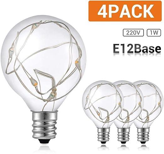 G40 Bombillas de LED,GlobaLink 4 Pack para Guirnalda Luces Exterior Cadena de Luz IP65 Impermeable 220V 1W para Fiesta Navidad Boda Jardín Patio-Blanco Cálido(Clase de eficiencia energética A+++): Amazon.es: Iluminación