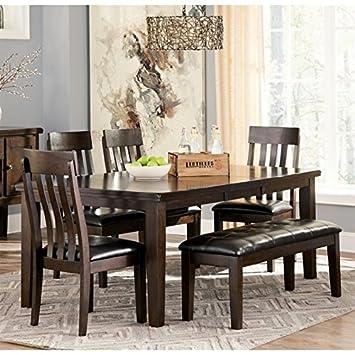 Ashley Haddigan 6 Piece Dining Set With Bench In Dark Brown