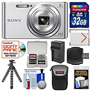 Sony Cyber-Shot DSC-W830 Digital Camera with 32GB Card + Case + Battery & Charger + Flex Tripod + Accessory Kit