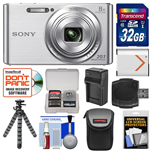 Sony Cyber-Shot DSC-W830 Digital Camera (Silver) with 32GB Card + Case + Battery & Charger + Flex Tripod + Accessory Kit