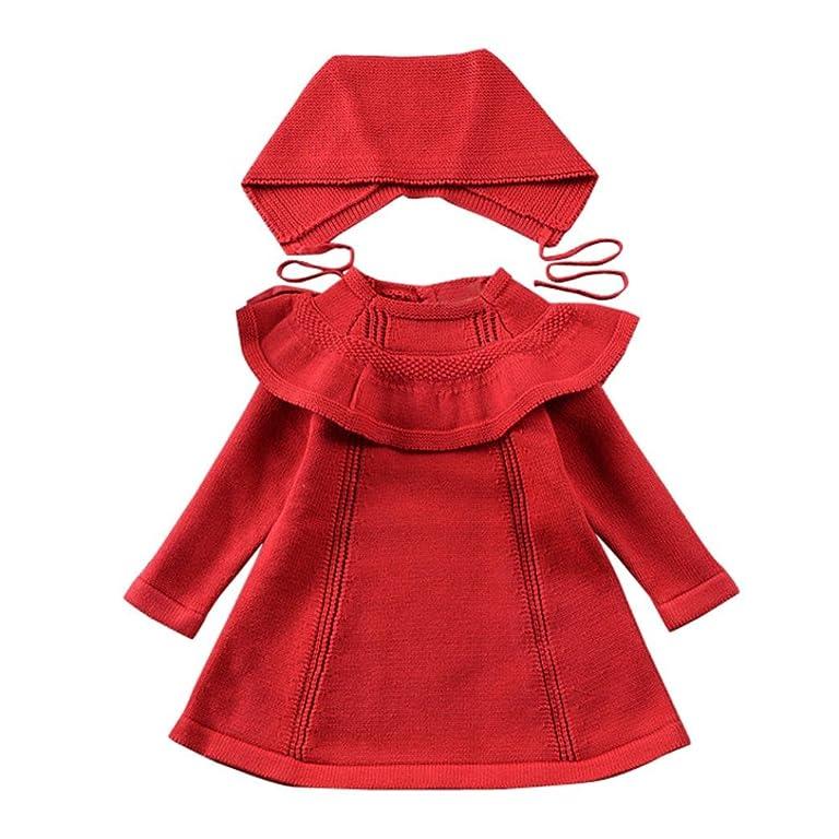 Goodlock Kids Baby Girl Dress Letter Knitting Long Sleeve Casual Dresses