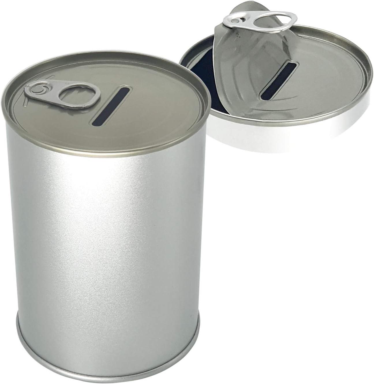 Produco Metal Money Coin Piggy Bank Cash Saving Box W/Easy-Open-End Lid (Silver)