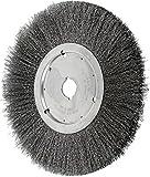 PFERD 80283 Narrow Face Crimped Wheel Brush, Carbon Steel Wire, 12'' Diameter, 1-1/4'' Arbor Hole, 0.012 Wire Size, 2-7/8'' Trim Length, 1-1/4'' Face Width, 3400 RPM
