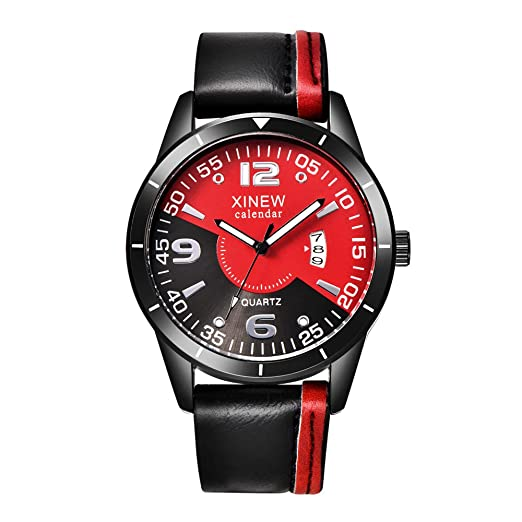 Amazon.com: Mens Quartz Watches COOKI Clearance Unique Analog Cheap Watches on Sale Leather Wrist Watches for Men-A22 (Red): Watches