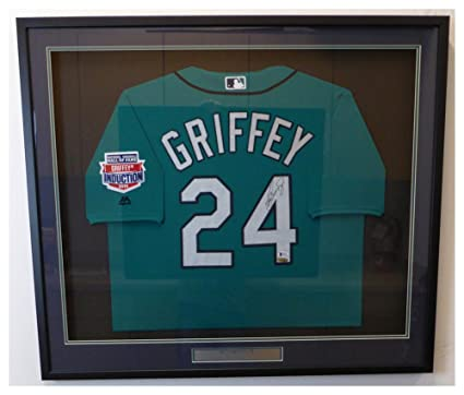 3fb5303af Image Unavailable. Image not available for. Color  Seattle Mariners Ken  Griffey Jr. Autographed Signed Framed Teal Majestic Jersey ...