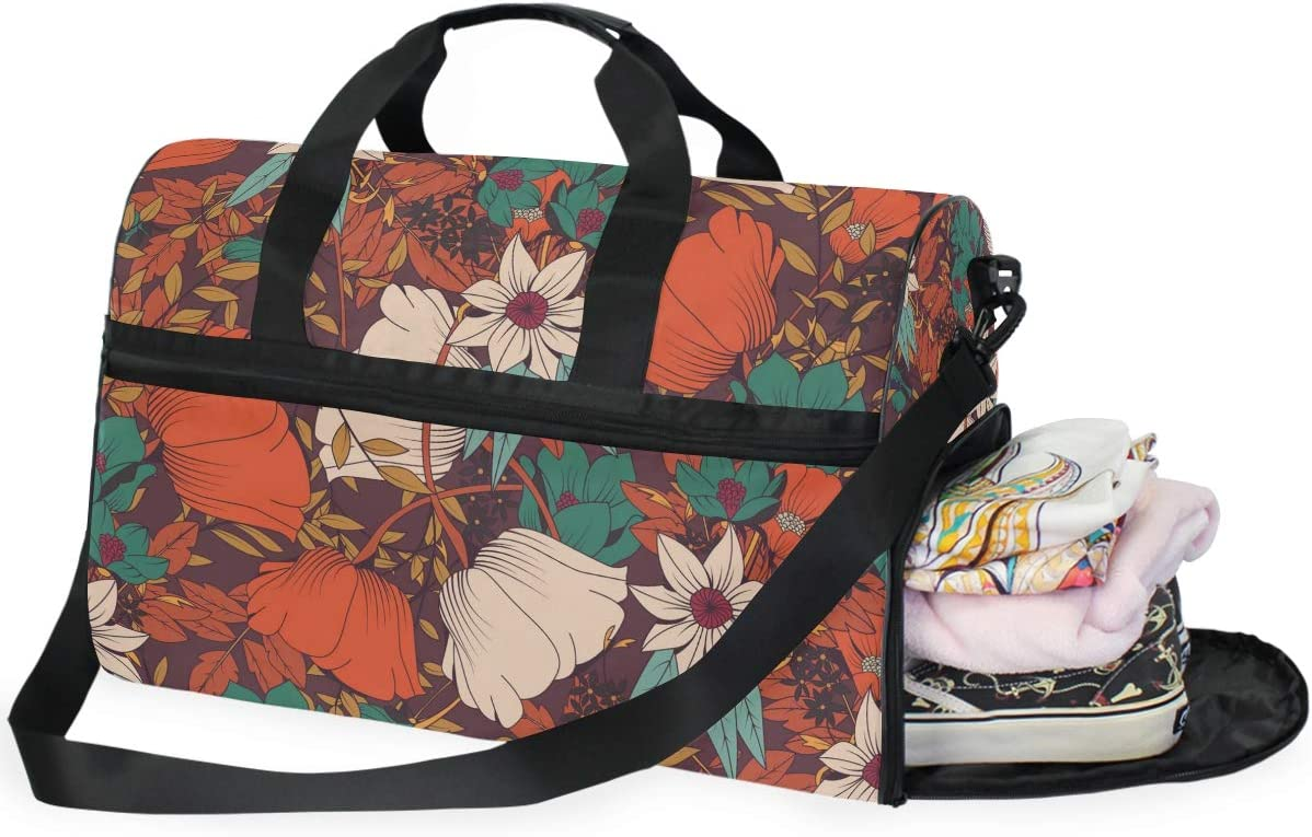 Traditional Kimono Motifs Composition Ethnic Floral Pattern Sports Gym Bag with Shoes Compartment Travel Duffel Bag for Men Women