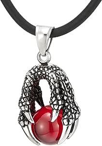 COOLSTEELANDBEYOND Collar con colgante de garra de dragón de bola negra para hombre de acero inoxidable con correa de silicona