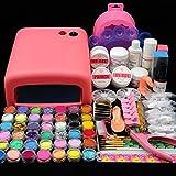 Fashion Zone 36W pink UV Gel Lamp Dryer Nail Art Acrylic Powder French Tips Salon Kit
