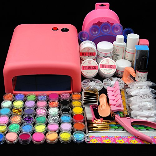 Fashion Zone 36W pink UV Gel Lamp Dryer Nail Art Acrylic Powder French Tips Salon Kit by Fashion Zone