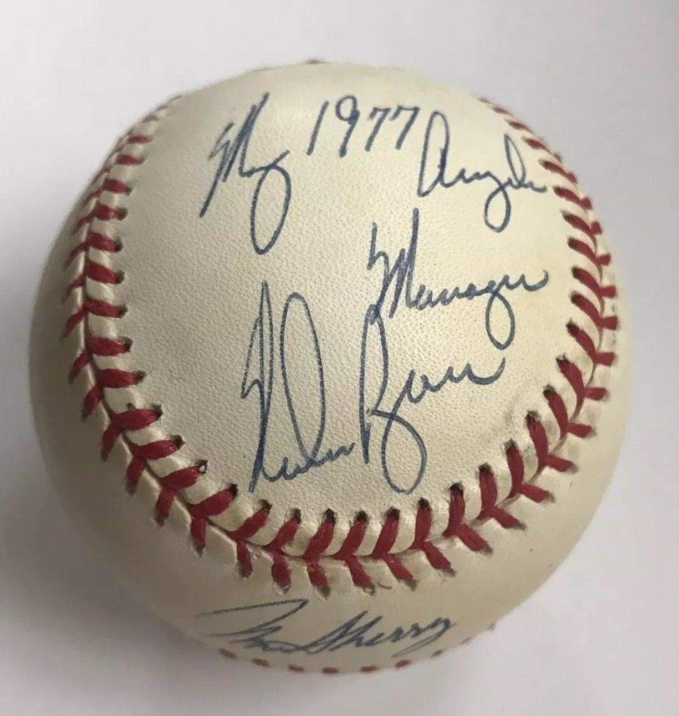 "NOLAN RYAN & NORM SHERRY DUAL AUTO AUTOGRAPH SIGNED BASEBALL LOS ANGELES ANGELS""MY 1977 ANGELS MANAGER"" COA JSA HOF"