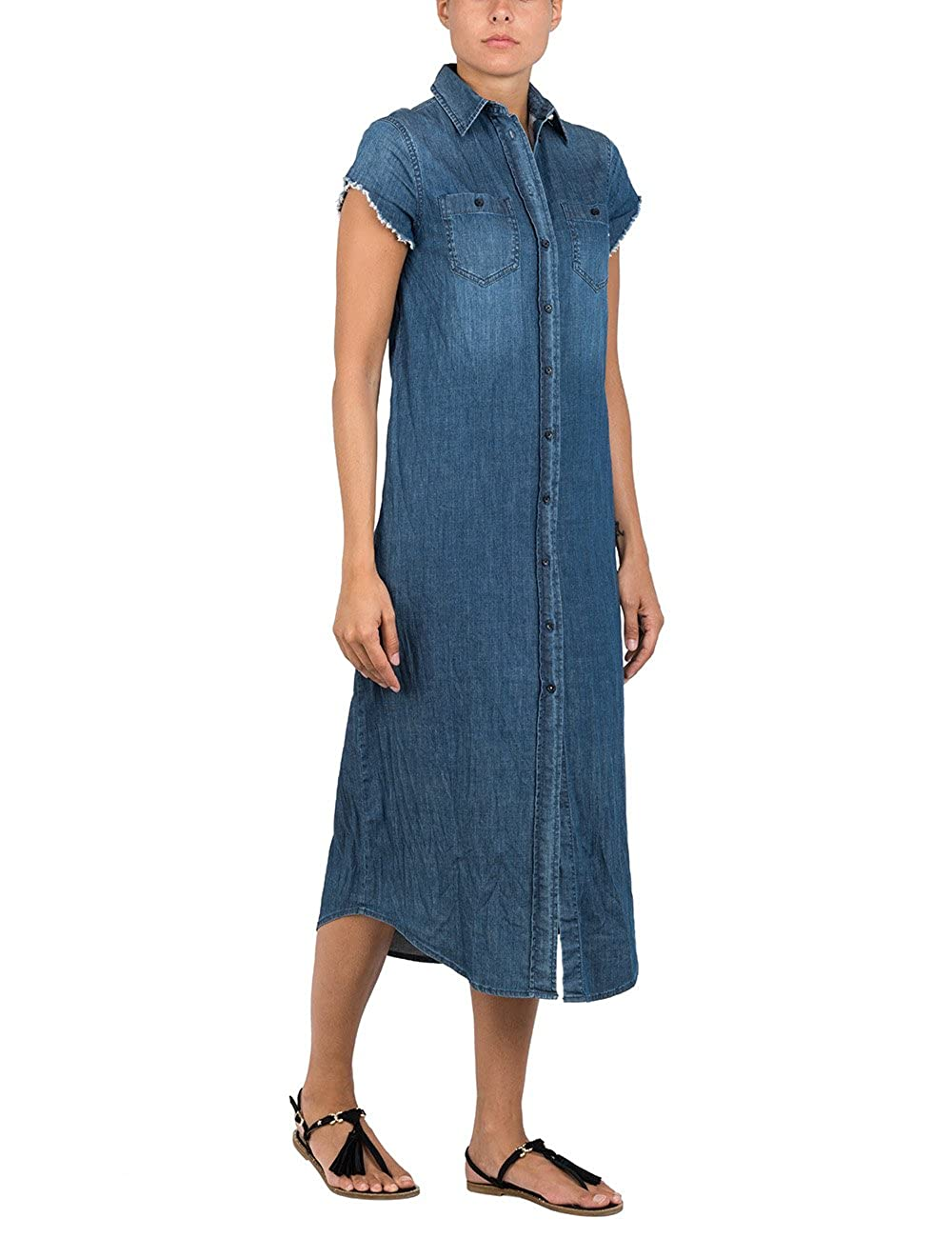 bluee Replay Women's 7 oz Stretch Denim Women's Denim Dress