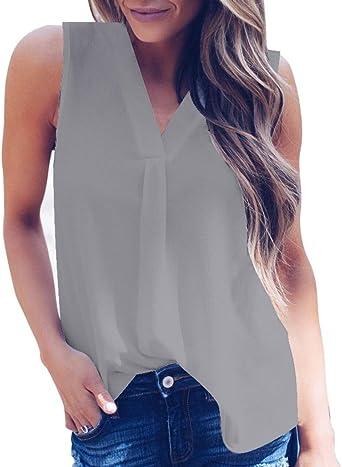 amuster Mujer Verano Sin Mangas Camiseta de Camisa Mujeres ...