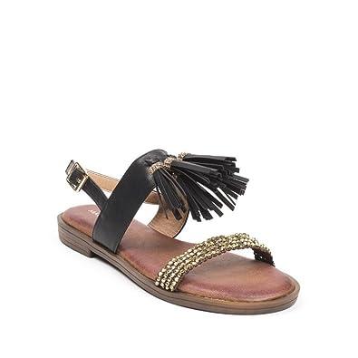 Avec Sandales Plates 41 Strass Et Franges Noir Ideal Shoes Sohana jLqSMVGUzp
