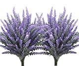 CATTREE Artificial Flowers Flocked Plastic Lavender Bundle Fake Plants Wedding Bridle Bouquet Indoor Outdoor Home Kitchen Office Table Centerpieces Arrangements Christmas Decor 8 Pcs