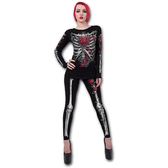 140bbb7ee8 Amazon.com  Spiral Womens - Rose Bones - Allover Comfy Fit Leggings ...