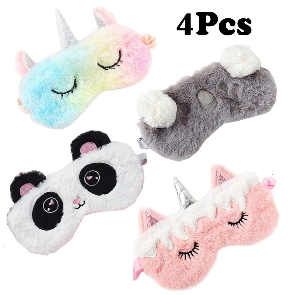 4 Pack Unicorn Sleeping Mask for Girls Soft Plush Blindfold Cute Unicorn Horn Panda Koala Sleep Masks Eye Cover Eyeshade for Kids Teens Women Plane Travel Nap Night Sleeping by Yosbabe
