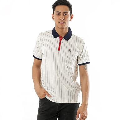 98c81597 Fila Vintage Men's BB1 Stripe Logo Polo Shirt, White