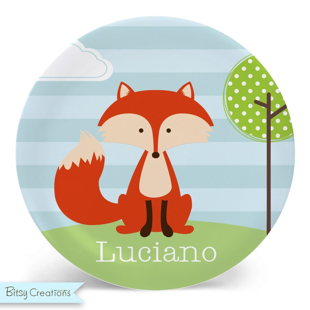 Fox Plate or Bowl Custom Personalized with Childs Name